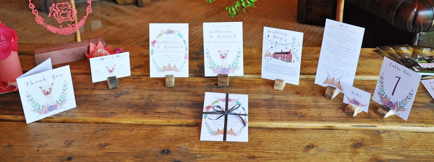 Boho-Tipi wedding stationery collection.