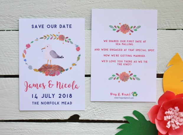Save our Date card with personal touches, including the couples story.